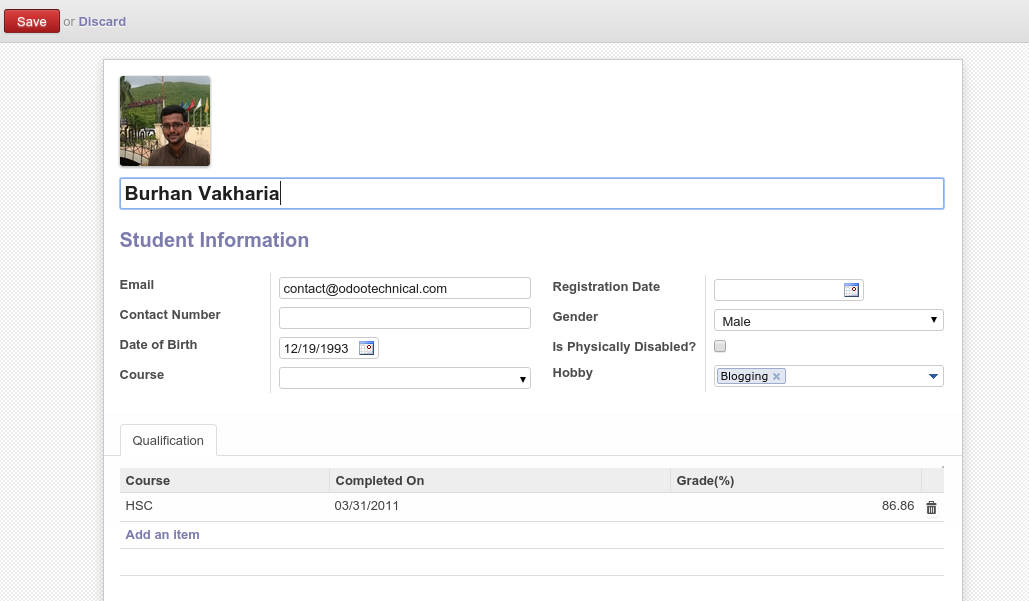 Learn - How to create a Form View in Odoo 8 to 12 - OdooTechnical