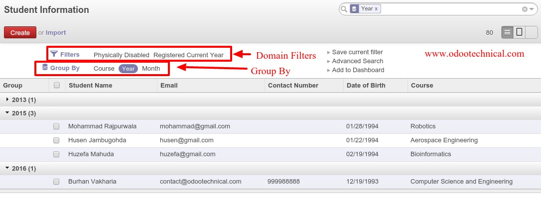 Group By and Domain Filters Odoo 8